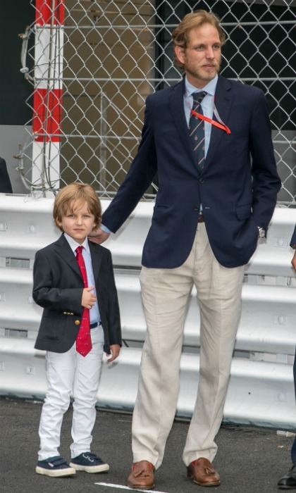 The couple's nephew Andrea Casiraghi was also spotted at the Formula One event. He brought along his little son Alexandre, who looked adorable in a fitted suit.