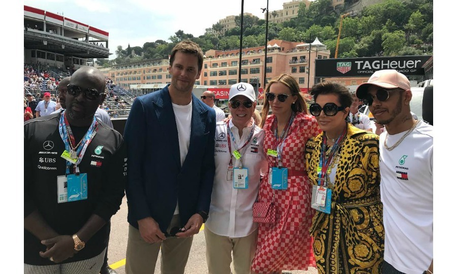 Another celebrity at the race was Kris Jenner, who watched alongside her boyfriend Corey Gamble. The momager shared various photos from the event to her Instagram, including this one which showed her and her love with Lewis Hamilton, Tom Brady, Tommy Hilfiger and his wife Dee Ocleppo. 