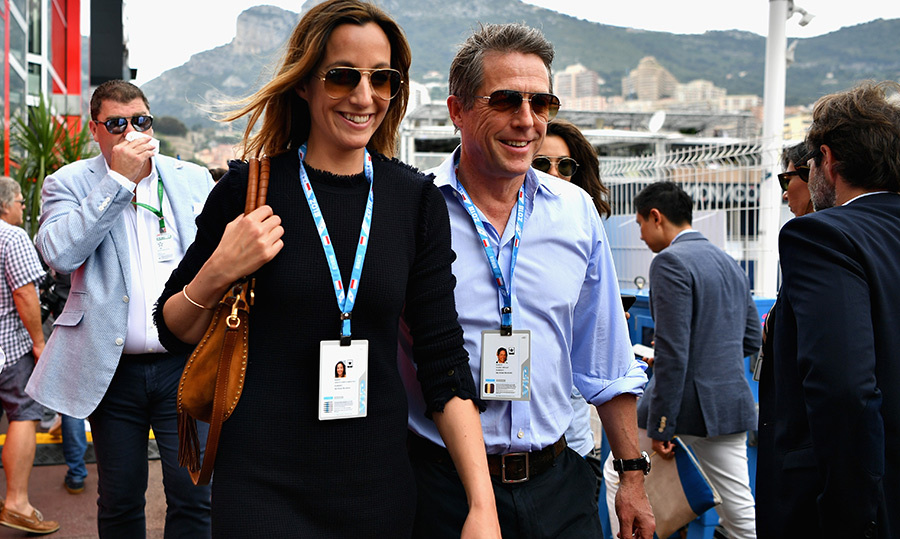 <p>Hugh Grant and his wife, TV producer Anna Eberstein, looked happy as clams – and for a good reason! This is the first time the two have stepped out, for the Monaco Grand Prix,  together since their wedding on May 25. 