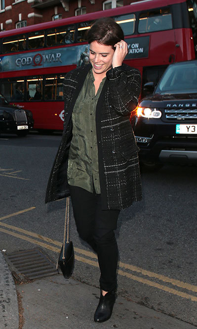 <p>Eugenie wore an affordable Zara coat while out on the town on April 25.