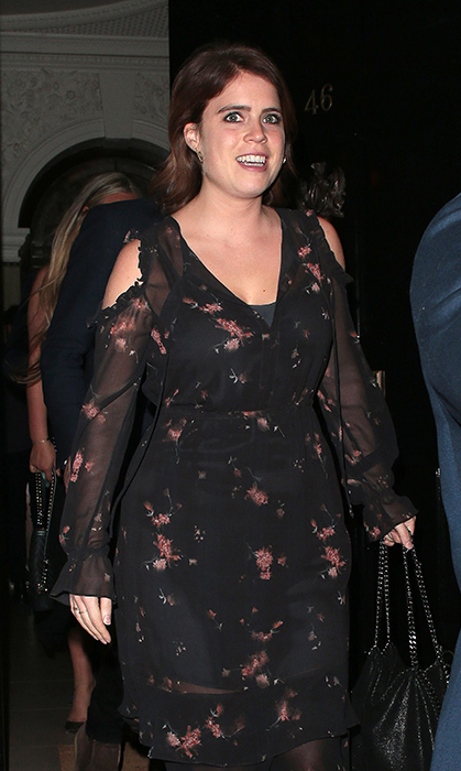 <p>The princess was spotted in this pretty black number – carrying a trendy Stella McCartney purse – while on a night out at Annabel's club in Mayfair on May 17.