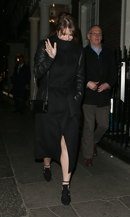 <p>She bundled up in black to brave the cold at the Arts Club on Jan. 25.