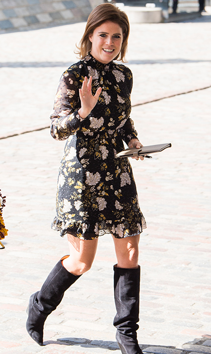 <p>We love a mini dress with knee-high boots any day! Eugenie looked sweet at a reception with delegates from the Commonwealth Youth Forum on April 18.