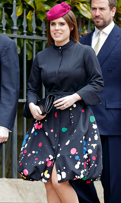 <p>This was one outfit Eugenie fans were just raving about! The royal stunned in this paint-splatter style gown by Oscar de la Renta for Easter in 2018.