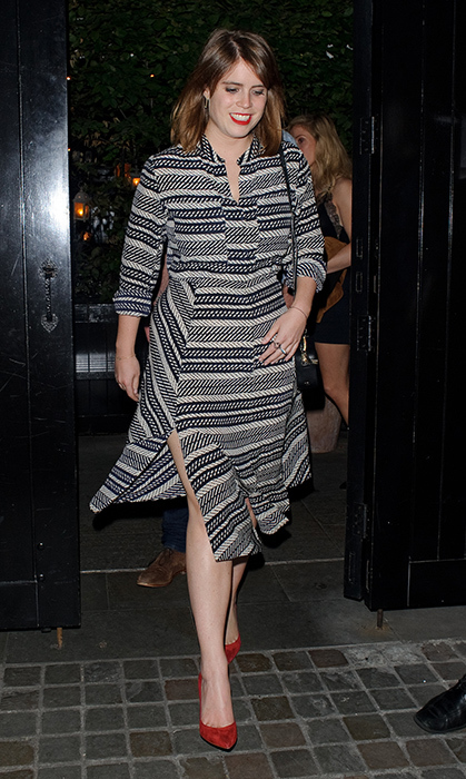 <p>Easily one of our favourites, the fashion maven wowed the crowd in a black-and-white dress and red accents. She as spotted outside the Chiltern Firehouse on July 7.
