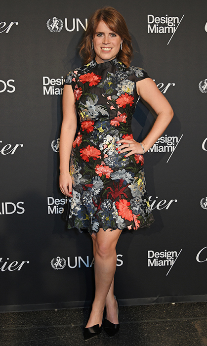 <p>Princess Eugenie donned florals once again for the UNAIDS Gala on June 12, 2017 in Switzerland. She later wore this look in her official engagement photos in 2018!