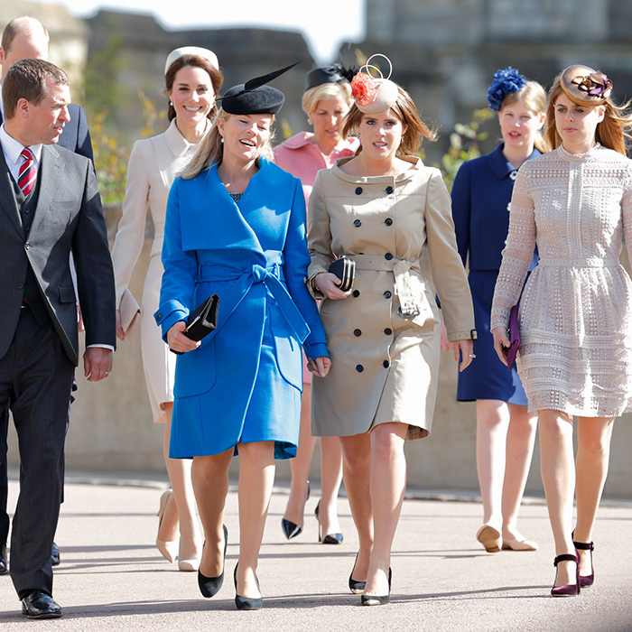 <p>#SquadGoals! Peter Phillips, Duchess Kate, Autumn Phillips, the Countess of Wessex, Princess Eugenie, Lady Louise Windsor and Princess Beatrice attended the traditional Easter Sunday church service on April 16, 2017. Eugenie donned a trench coat style dress for the occasion.