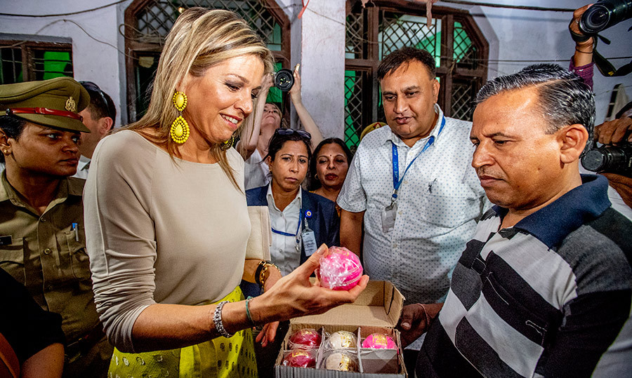 <p>The Dutch royal paid a visit to a cricket ball production company – who were the recipients of a loan from Aye Finance – during her stop on May 29. Aye Finance services small companies in Northern India to help them grow.