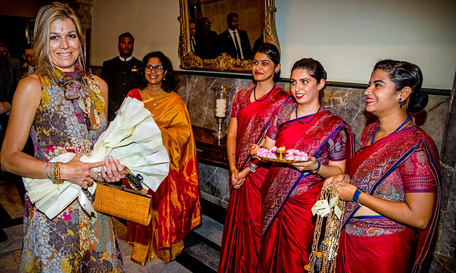 <p>The Queen of the Netherlands arrived at the Taj Mahal Palace Hotel on May 29, and was greeted by some of the hotel's staff.