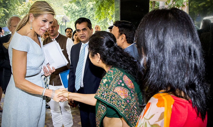 <p>The Dutch royal graciously greeted her well-wishers before entering the UN location in Delhi.