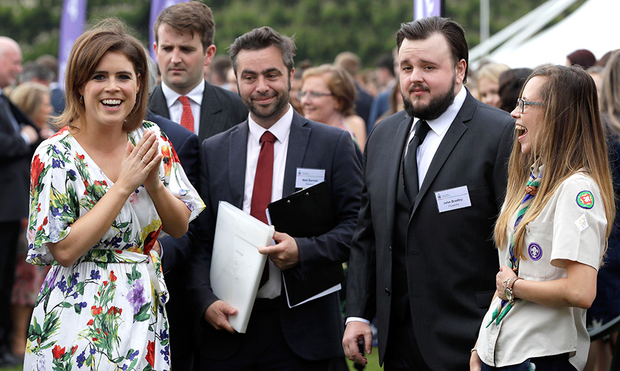 <p>Princess Eugnie shared a laugh with <em>Game of Thrones</em> actor John Bradley while attending the Duke of Edinburgh presentations at Buckingham Palace on May 24. Over 3,000 young people from across the United Kingdom received the awards that day.