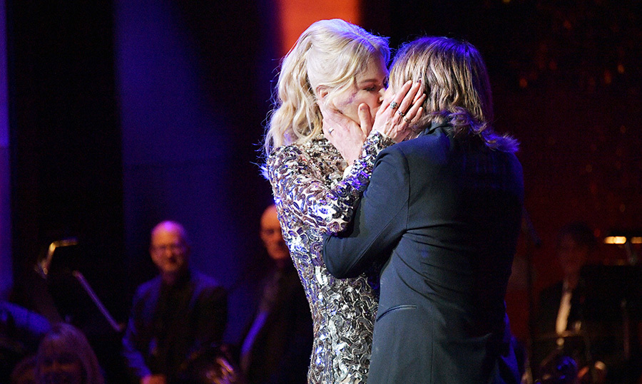 <p>The <em>Big Little Lies</em> star strolled onstage to give the country singer a sweet smooch at the American Songbook Gala in May 2018, before Keith launched into a powerful performance.