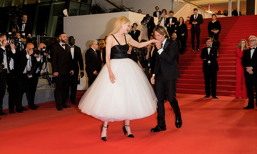 <p>Keith was the consummate gentleman in Cannes, kissing his wife's hand as she made a show-stopping appearance on the red carpet for <em>The Killing of a Sacred Deer</em> wearing a voluminous creation by Calvin Klein.