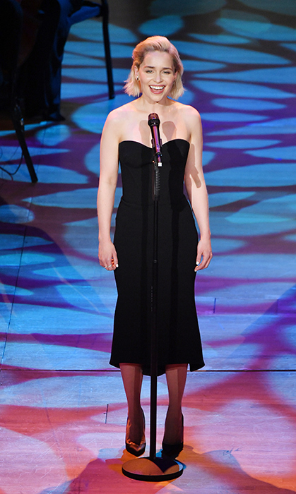 <p>Emilia Clarke presented onstage during the Lincoln Center's American Songbook Gala on May 29. The <em>Game of Thrones</em> actress stunned in a simple black gown, with her ice blond hair slicked back.