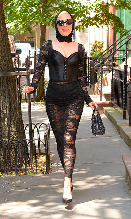 The New York native served up some classic Gaga fashion in this corseted lace Dolce & Gabbana get up!
