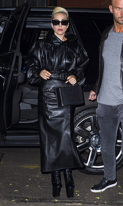 Lady Gaga sported a very Matrix-esque look for an evening out in the Big Apple. The head-to-toe leather look was by YCH and she shielded her eyes with a pair of oversized black Le Specs sunnies. Those camera flashes are bright!