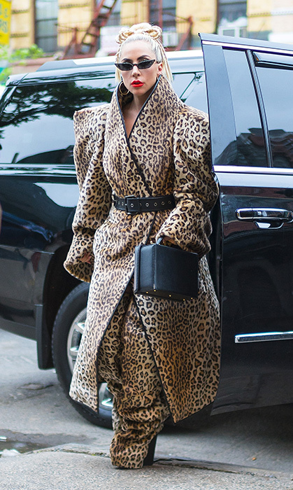 You can never wear enough leopard print, according to Lady Gaga! The star appeared in New York City in a belted Gareth Pugh creation. Paired with small of-the-moment shades and a bold red lip, she was ready to take on the town.