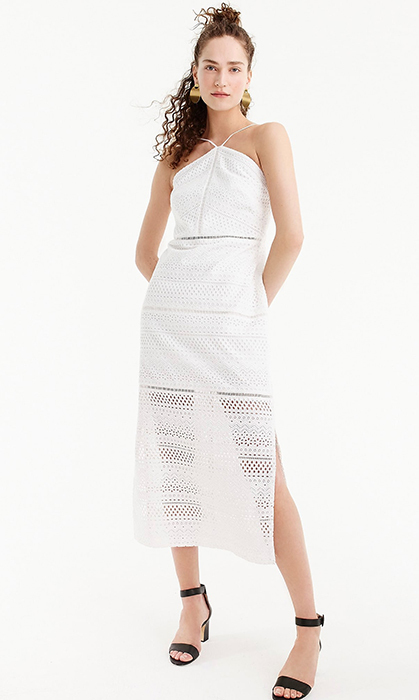 "<strong>String Halter Dress in Eyelet, $213, <a href=""https://www.jcrew.com/ca/p/womens_category/dresses/partydresses/string-halter-dress-in-eyelet/J2448?color_name=white"">jcrew.com</a></strong>"