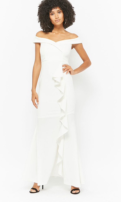 "<strong>Off-the-Shoulder Ruffle Dress, $61, <a href=""https://www.forever21.com/ca/shop/catalog/product/f21/wedding-shop/2000279409"">forever21.com</strong></strong>"