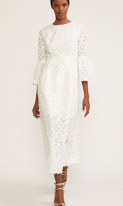 "<strong>Romy Lace Bell Sleeve Dress, $551, <a href=""https://cynthiarowley.com/collections/new-arrivals/products/lace-maxi-long-sleeve-dress?variant=42894546128"">cynthiarowley.com</a></strong>"