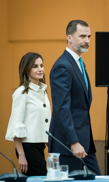 Queen Letizia and King Felipe attended a charity meeting for the Princess of Asturias Foundation on June 1. Naturally, the Queen of Spain was her usual chic self in a monochromatic look.