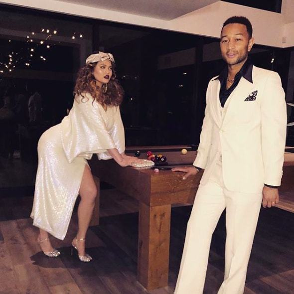 "Chrissy Teigen and John Legend got groovy with some 70s get-ups. And in typical Chrissy fashion, she is <em>the most</em> relatable mom. ""I will be sore from this 3 second ass pop all week,"" she wrote on Instagram.