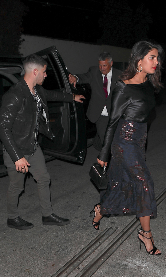 Nick Jonas and Priyanka Chopra were spotted entering Craig's in West Hollywood together on May 31. 
