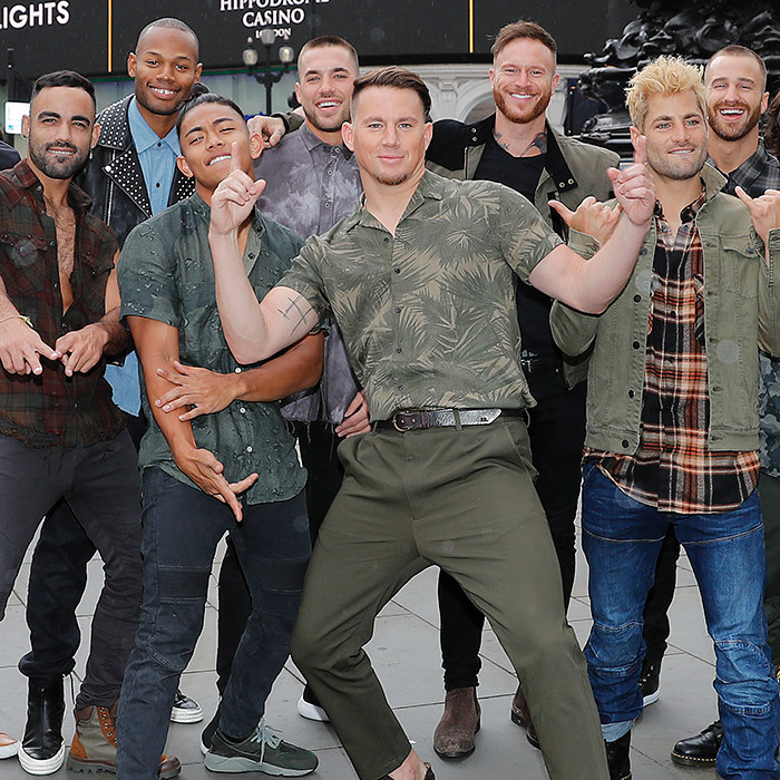 Channing Tatum brought some magic to London! The star posed with Magic Mike Live dancers in front of Eros at Piccadilly Circus on June 4.