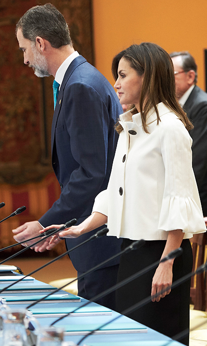 Letizia wore an elegant white button-up coat, which she paired with a simple black skirt. She was meeting members of the Boards of Trustees of the Princess of Asturias Foundation on June 1. She first wore the peplum blazer back in July 2008.
