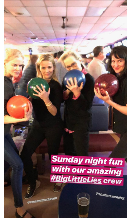 "Nicole Kidman, Reese Witherspoon, Meryl Streep and Shailene Woodley of <em>Big Little Lies</em> posed with their bowling balls as they hit the lanes on June 3 on a night off from filming. ""Sunday night fun with our amazing #BigLittleLies crew,"" said Nicole Kidman along with one of many Instastories she posted, some of which also showed their co-star Zoë Kravitz. We wonder who got the most strikes?