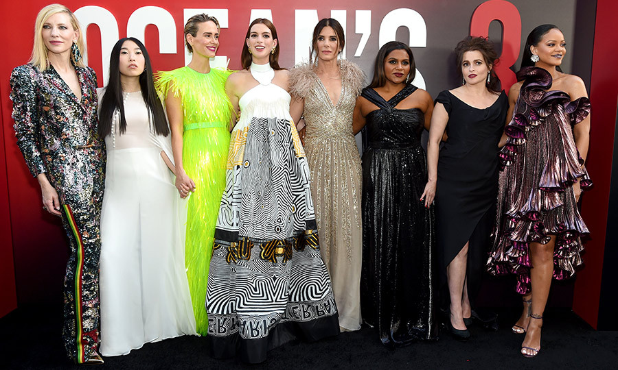"A feast for the eyes! The fashion-forward press tour that's seen the stars of <em>Ocean's 8</em> killing it at every turn finally culminated in the film's world premiere on June 5 at New York City's Alice Tully Hall. Stars <a href=""/tags/0/cate-blanchett"">Cate Blanchett</a>, Awkwafina, <a href=""/tags/0/sarah-paulson"">Sarah Paulson</a>, <a href=""/tags/0/anne-hathaway"">Anne Hathaway</a>, <a href=""/tags/0/sandra-bullock"">Sandra Bullock</a>, <a href=""/tags/0/mindy-kaling"">Mindy Kaling</a>, Helena Bonham Carter and <a href=""/tags/0/rihanna"">Rihanna</a> posed for the ultimate #girlsquad shots, each dressed to perfection in her own signature style. The latest in the Ocean's franchise sees a collection of savvy female thieves pulling off the ultimate heist at the Met Gala. 
