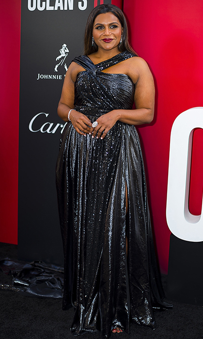 Mindy Kaling always nails elegance. She donned a stunning high-slit Prabal Gurung dress and glittery Cartier jewelry. 