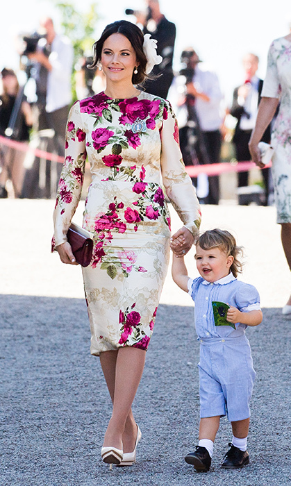 Princess Sofia opted for beautiful florals, too, going for this cream-and-pink knee-length dress, paired with nude heels. She walked hand-in-hand with Prince Alexander while attending Princess Adrienne of Sweden's christening.