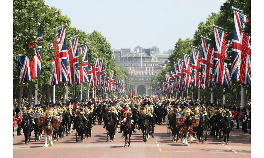 More than 1400 soldiers – including some senior members of the Royal Family – 200 horses and 400 musicians take part in the magnificent ceremony, which ends with a crowd-pleasing flypast by the RAF.