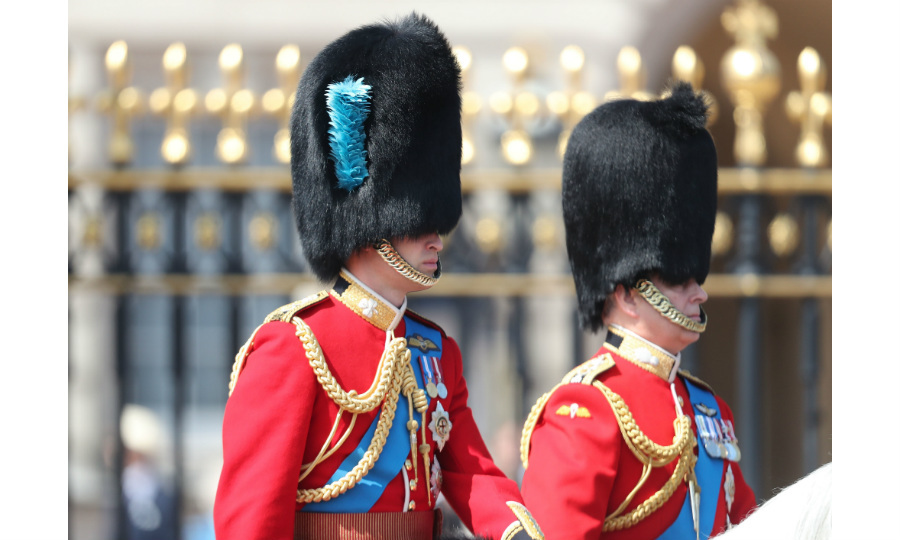 LONDON, ENGLAND - JUNE 09: Prince William, Duke of Cambridge and Prince Andrew, Duke of York during Trooping The Colour on the Mall on June 9, 2018 in London, England. The annual ceremony involving over 1400 guardsmen and cavalry, is believed to have first been performed during the reign of King Charles II. The parade marks the official birthday of the Sovereign, even though the Queen's actual birthday is on April 21st. (Photo by Chris Jackson/Getty Images)