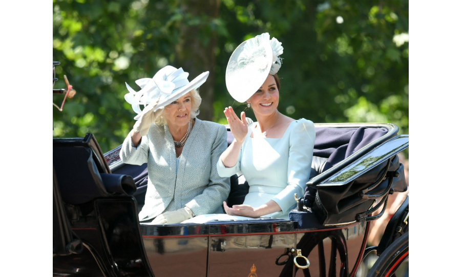 The Duchess of Cambridge and the Duchess of Cornwall, in matching blue outfits, travelled by carriage while their husbands rode horseback. 
