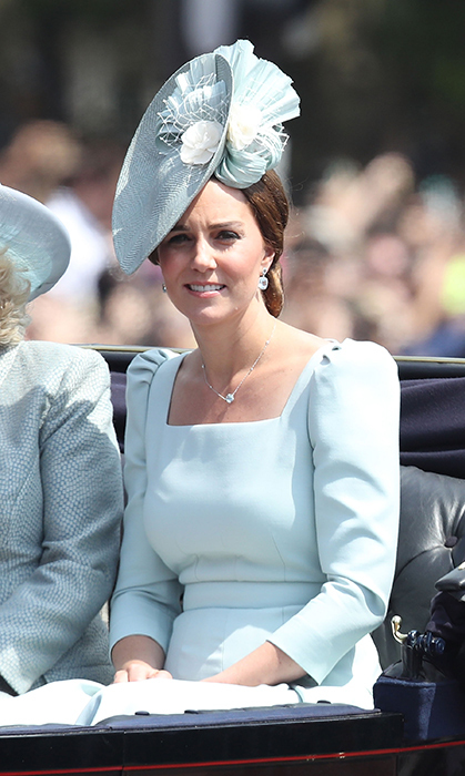 The Duchess of Cambridge made a rare appearance while on maternity leave after giving birth to her third son, Prince Louis. The royal dazzled in a pastel blue Alexander McQueen number, which features gathered shouldered and a flattering square neckline. Pairing it with a beautiful fascinator in the same colour, Kate looked absolutely perfect for the sunny day celebrations!