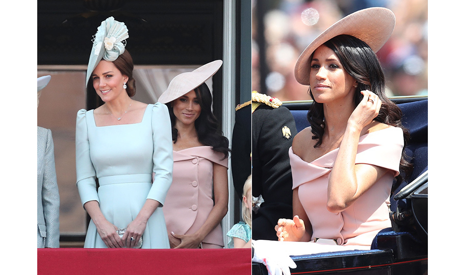 Meghan's second official outing as the Duchess of Sussex was certainly one for the books! Stepping out with the British Royal Family for the annual Trooping the Colour celebration, the former actress dazzled in a peach off-the-shoulder Carolina Herrera gown, which boasted a stunning neckline and modern buttons. She finished the look off with a matching hat, simple jewelry and natural makeup to show off her post-honeymoon glow!