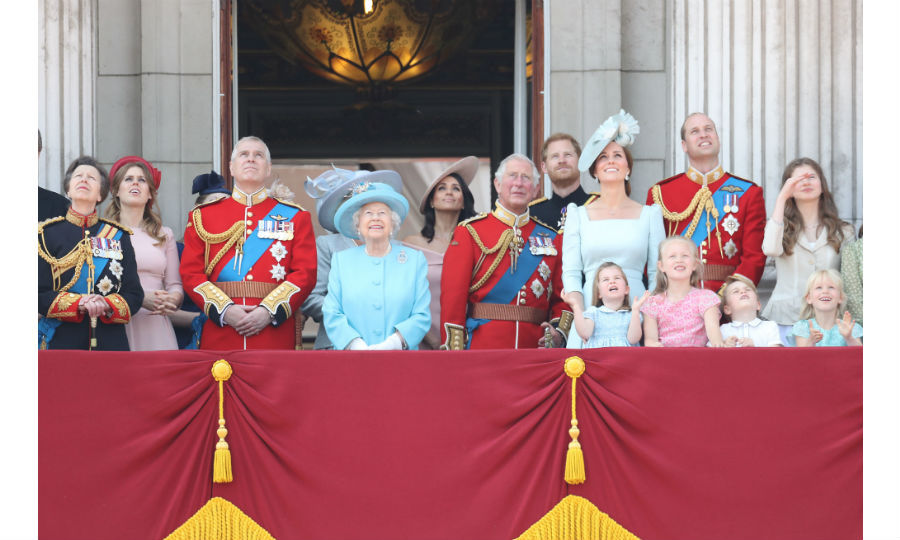Following the spectacular parade along The Mall, the Royal Family gathered on the balcony at Buckingham Palace to watch the RAF flypast.