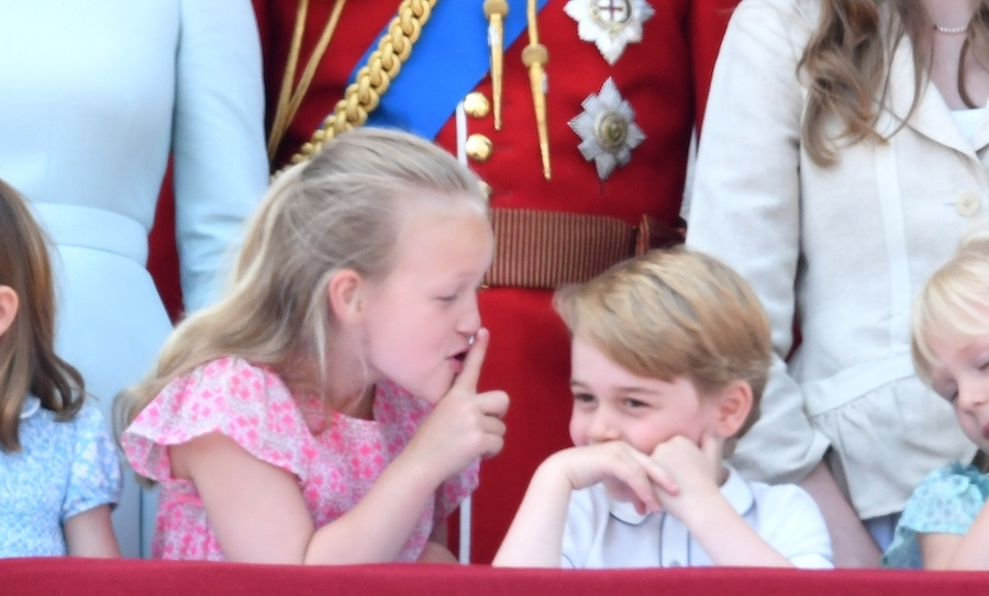 One of the cutest moments on the balcony saw Savannah Phillips, daughter of Peter and Autumn Phillips, shushing her cousin Prince George during the singing of the national anthem. 