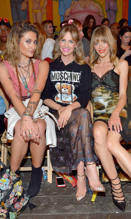 Paris Jackson, January Jones ad Jaime King sat front row to watch the animated Moschino Spring/Summer Resort runway show at the Los Angeles Equestrian Center in Burbank.