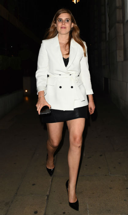<p>Princess Beatrice has been hitting it out of the fashion ballpark! While out for the night in London on June 8, the royal stunned in a leather mini skirt and Zara staple blazer – which costs only $155.50! She kept her hair and makeup relatively simple, carrying a black clutch and finishing off the look with pointed black heels.