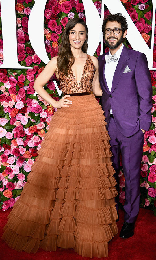 Sara Bareilles in J. Mendel with co-host Josh Groban