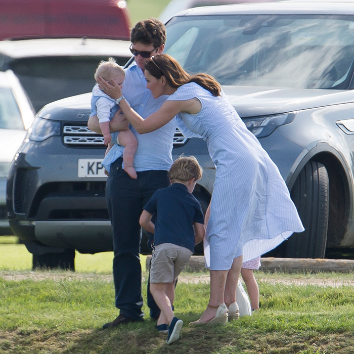 Kate was born to be a mom, even feeling maternal over another cute little baby at the polo match.