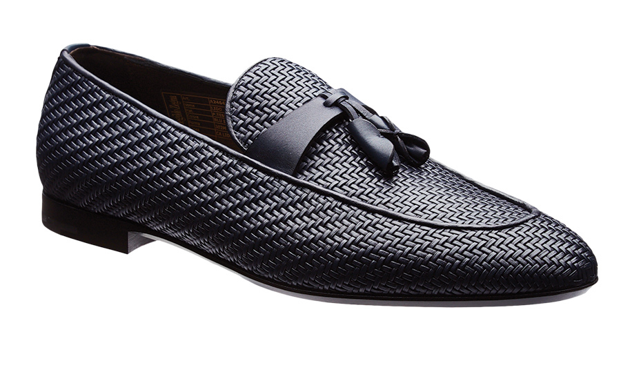 "<strong>Ermenegildo Zegna Woven Leather Loafers, $1,150, <a href=""harryrosen.com""><em>harryrosen.com</em></a></strong>"