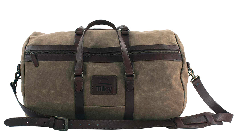 "<strong>Waxed Cotton Weekend Duffle, $250, <a href=""tilley.com""><em>tilley.com</em></a></strong>"