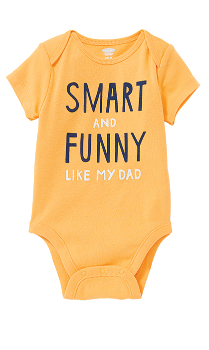 "<strong>Graphic Jersey Bodysuit for Baby, $10, <a href=""oldnavy.ca""><em>oldnavy.ca</em></a></strong>"