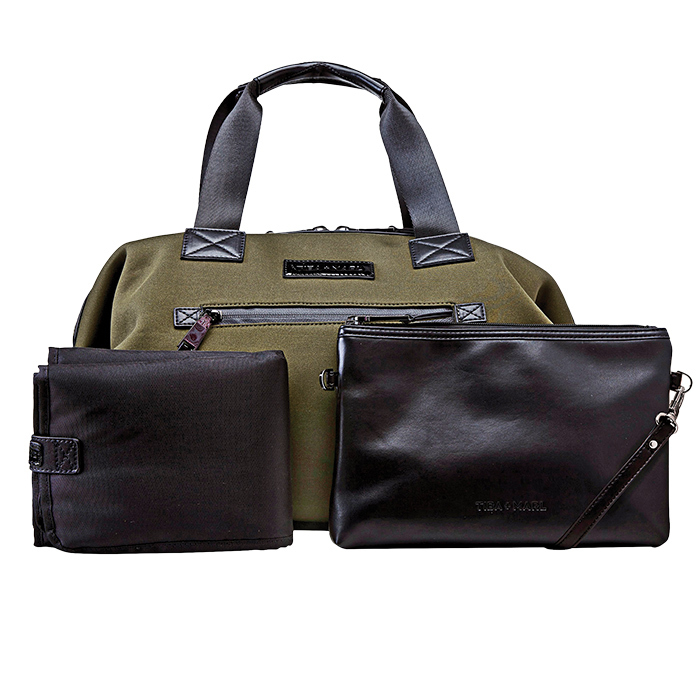 "<strong>Tiba + Marl Khaki Baby Changing Bag, $207, <a href=""childrensalon.com""><em>childrensalon.com</em></a></strong>"