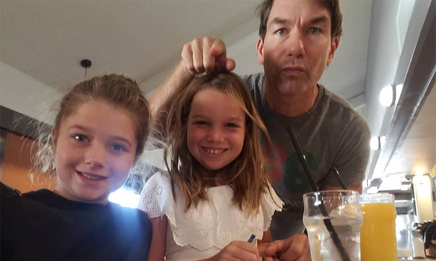 "The father of two loves taking his nine-year-old twins, Dolly and Charlie, out for breakfast to give mom a break! And if anyone knows how important a ""bottomless OJ brunch"" is, it's Jerry.