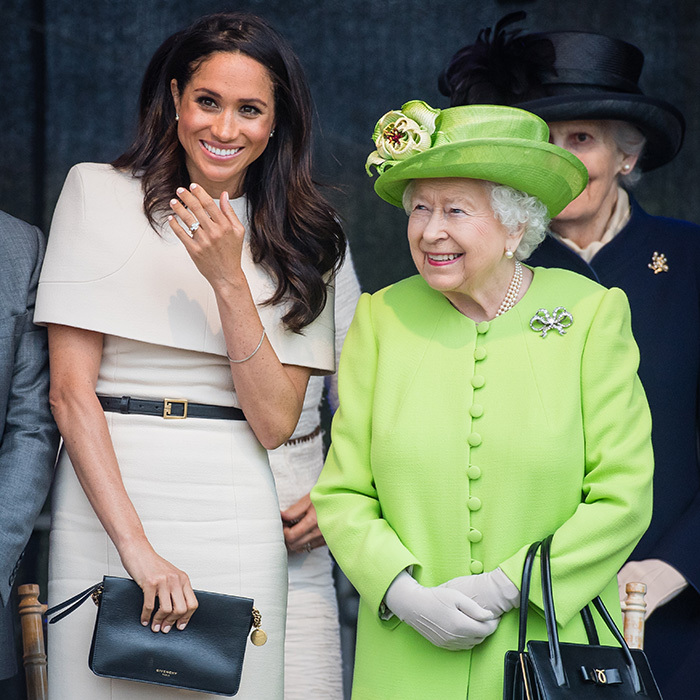 Meghan's gorgeous engagement ring was dazzling as ever as she and the Queen attended the official opening of the Mersey Gateway Bridge.